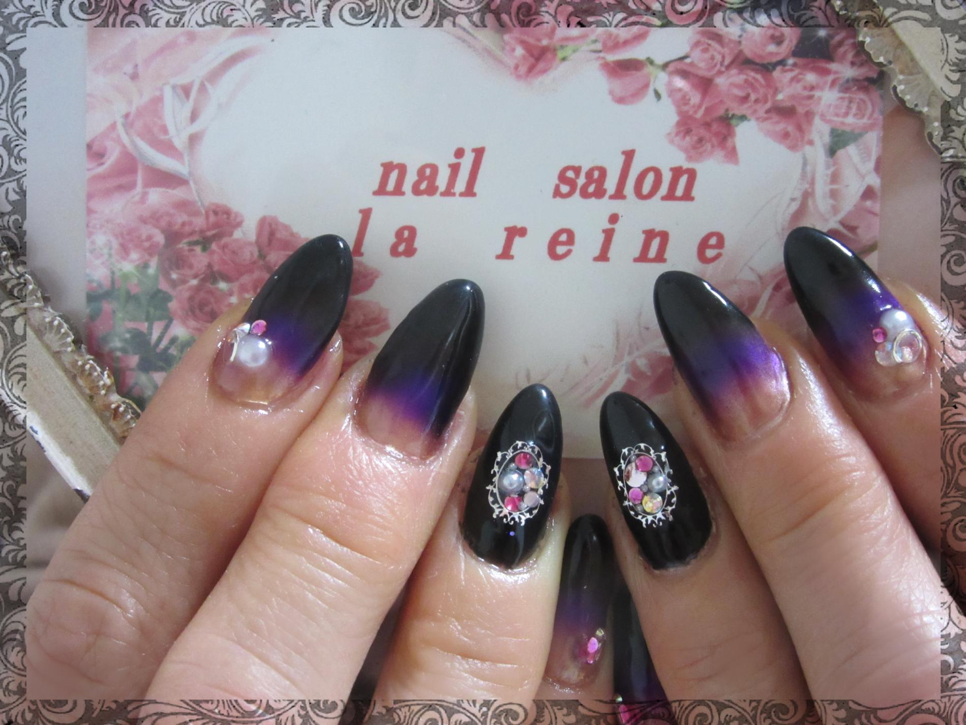 黒,紫,ネイル,シンプル